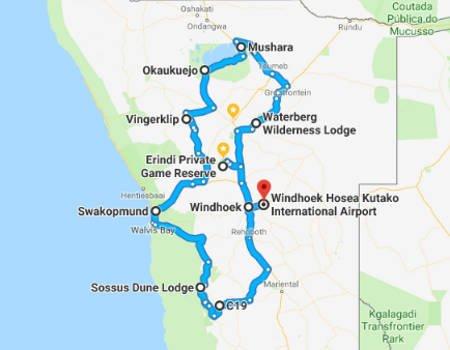 Namib Wüste Karte.Namibia Selbstfahrer Rundreise 10 Tage